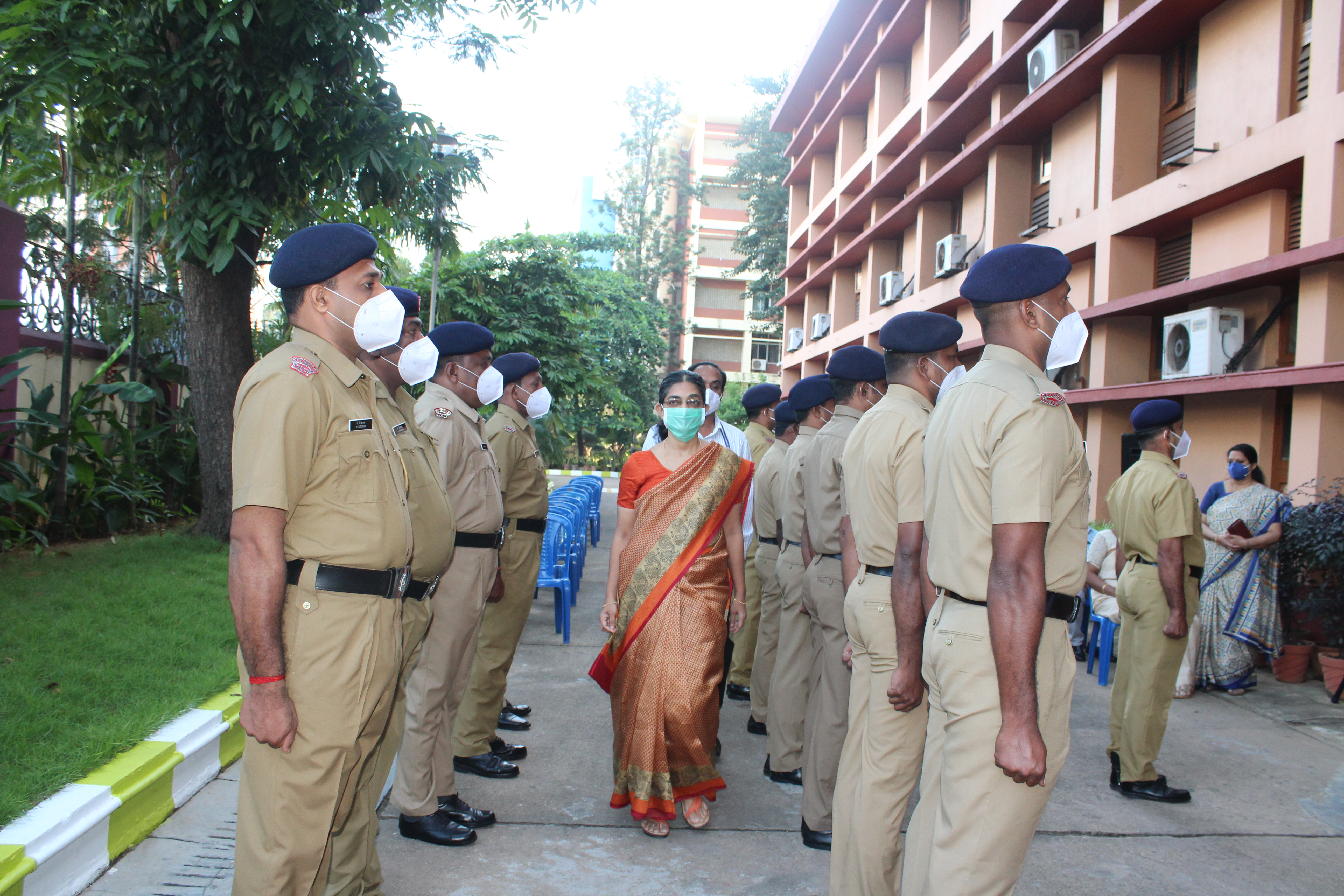 Inspecting Guard of Honour by Smt. Anim Cherian, Principal Accountant General, Audit-1